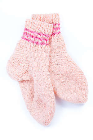 handcrafted fink socks isolated on white backgraund