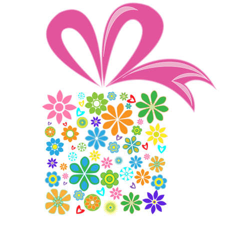 Gift box with pink ribbon and box from flowers Vector