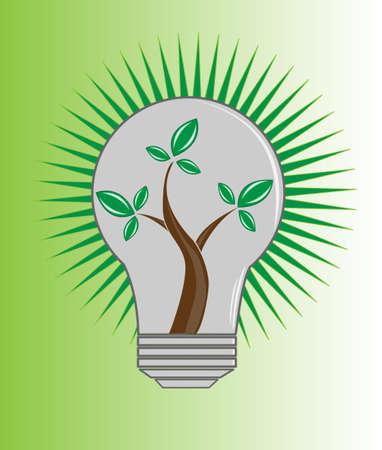 内のエコロジー シンボルとしてツリーの電球