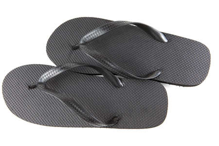 Black flip-flops isolated against a white background Stock Photo - 20284820