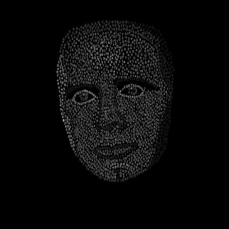 vector illustration of face from numbers on black background Illustration
