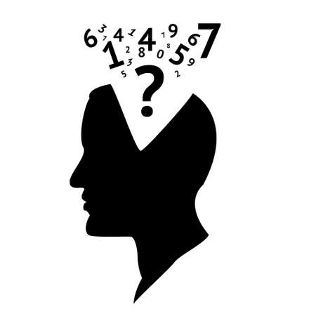 logic: vector illustration of head with numbers outline