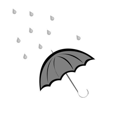 black umbrella and rain drops Ilustração