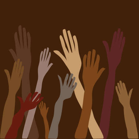 vector of raised Hands as symbol of volonteer