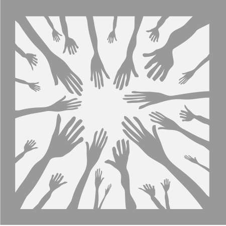 ilustración vectorial de las manos como símbolo de equipo Ilustración de vector