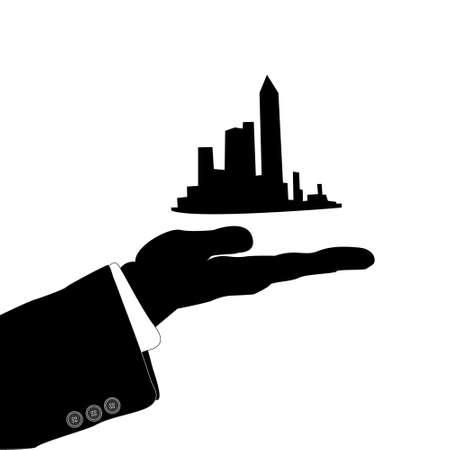 vector illustration of hand and city