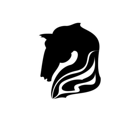 vector illustration of horse head icon outline