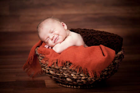 newborn baby girl sleeping Stock Photo