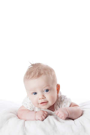 generration: Cute infant girl on white background