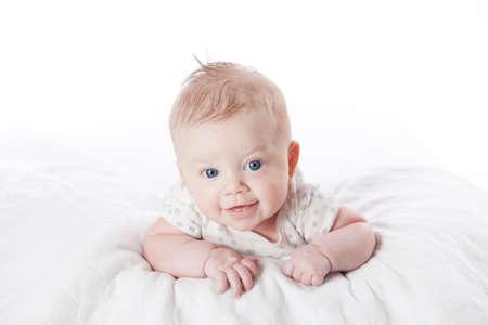 generration: Cute infant girl on white background