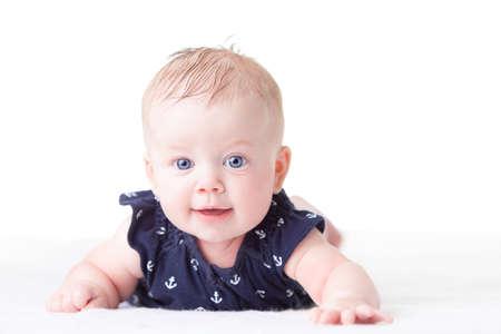 generration: Cute infant girl on white