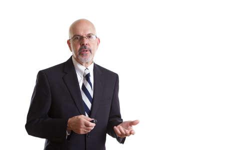 gentleman's: businessman in dark blue suit, on presentation isolated on white background Stock Photo