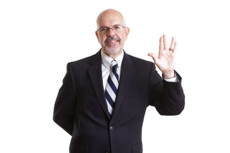 businessman in dark blue suit and glasses  showing live long and prosper isolated on white background