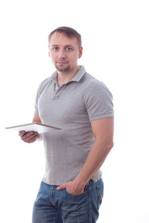 Man holding tablet, isolated on white