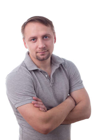 Man standing casual, arms folded, isolated on white