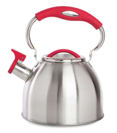 whistling: whistling Kettle with red handles.