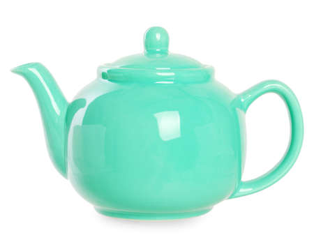 Small turquoise teapot on a white background.