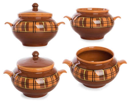 A set of clay pots for food, isolated on white background