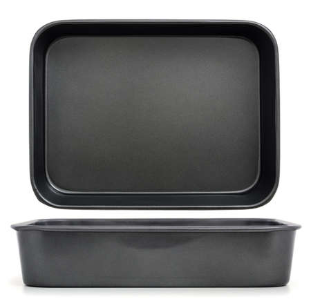 Tray for oven   Empty baking tray isolated on white, view from the top and side view Stock Photo