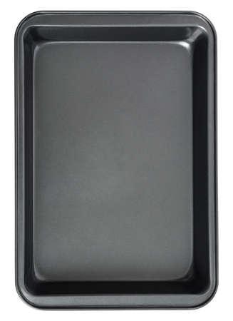 Rechteckiges schwarzes Backblech im Ofen, lokalisiert auf weißem Hintergrund. Draufsicht Backblech.