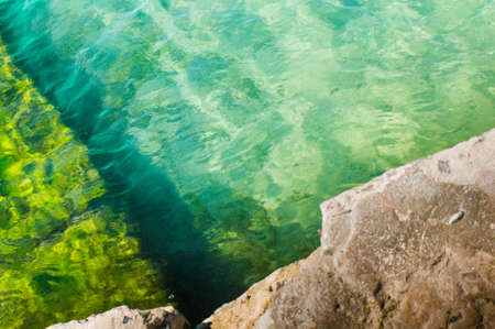 backwater: view from above of pier garmony exotic, peace, backwater, Stock Photo