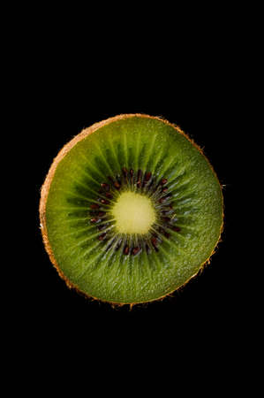 cantle: kiwi over black background refreshment, part, sliced, rind