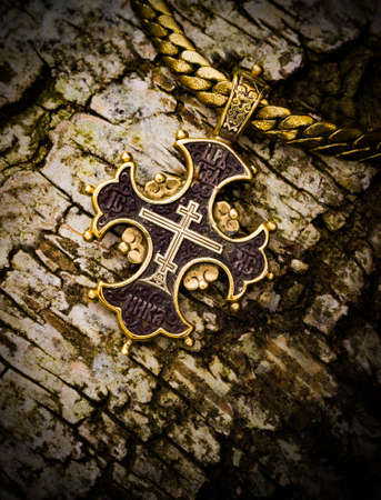 ebon: gold cross on a tree bark christianity, smutty, trust,