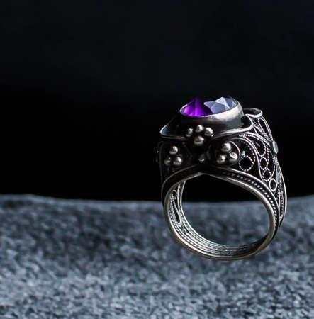 purple amethyst cushion cut diamond fashion cocktail or engagement ring jewelry