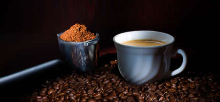 coffee beans with cup splash fresh action movement drink wooden morning, natural, roasted, taste
