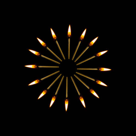 flame, decoration yellow Burning match hot darkness Burning match, culture, spirituality, splash, movement, action, religion pattern abstract Stock Photo