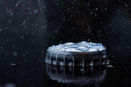 Blue clear fresh Water splash Cork from a bottle sport fit Imagens