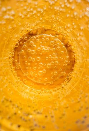 Gas bubbles in the carbonated beverage. Lemonade cocktail. Gases, Citrus cocktail bar. fresh splash