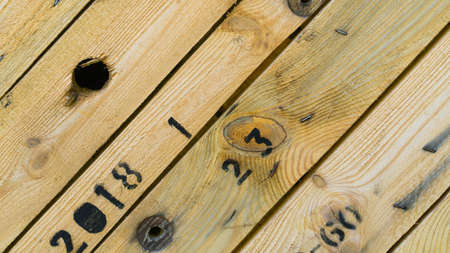 Wooden texture background. Teak wood siding, vertical, design, Imagens