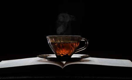 Hot tea cup on a wood table food, snow, autumn, light, christmas, evening