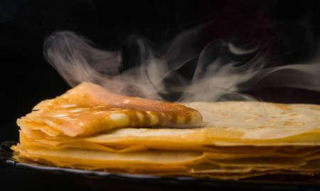 Pancakes. Thin pancakes. Russian bliny. maslenitsa, blini, breakfast, crepe, honey pastry stack pancake russian background caviar closeup food fresh Imagens - 101285948