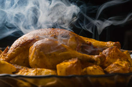 roasted chicken and potatoes on glass plate ood, poultry, cooked, baked, dinner, smoke aroma