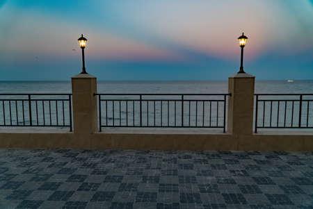 embankment, sea and blue sky city, landscape, panorama beach Imagens