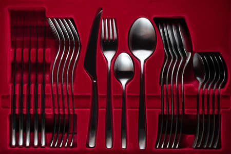 silver fork, knife and spoon frame against open black copy space. design, frame, food, kitchen 스톡 콘텐츠