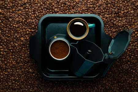 geyser coffee maker and coffee on a tray coffee on the world map, focus on cup progress, champion, championship space, flat lay, flatlay, empty, layout, life style, modern place, first