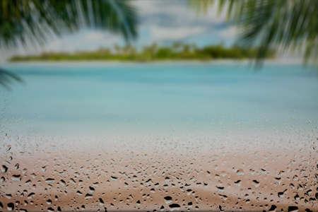 beach behind foggy glass drop on glass landscape, palm, lagoon, coconut, tourism, relax, coast, caribbean, seychelles, maldives, indian, holiday, green, surf rock anse white cloud wave lazio seaside horizon Imagens