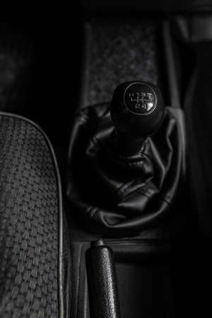 gearsift of a sportive car modern, metal, handle, inside, accelerate, engine, concept, circle, truck, interior, travel, change, power vehicle matte automobile shifting new ready black detail blurred gearstick