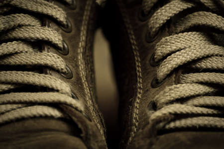 The laces on old sneakers
