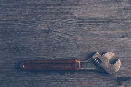 old tools: Old tools on a dark wooden background. Top view