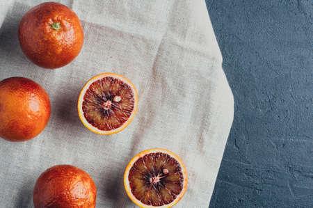Red oranges on a dark stone background Stok Fotoğraf - 73506108