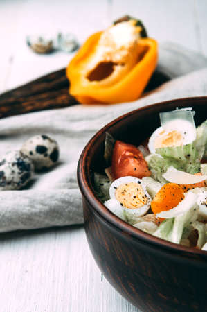 Salad with quail eggs. Light style Stok Fotoğraf