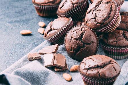 Chocolate muffins on a dark background