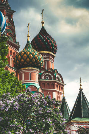 Historic architecture in Moscow city. Russia. Vertical frame