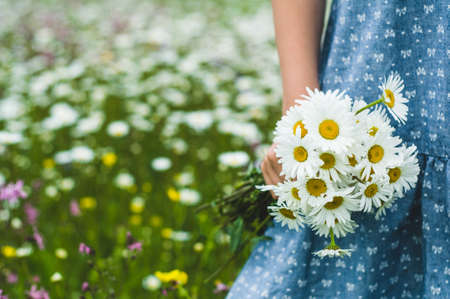 The girl in a blue dress holds a bouquet of white daisies in hand Stock fotó - 83065618