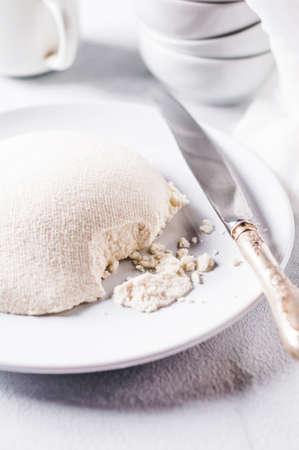 흰색 콘크리트 배경에 신선한 수제 치즈