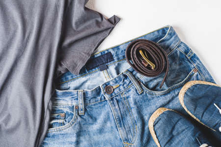 Fashionable men's clothing. Streetwear and accessories Standard-Bild